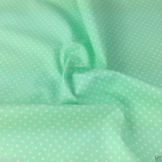 Mint, Polka Dot, 100% Cotton Fabric, sold per  half metre, 112cm wide