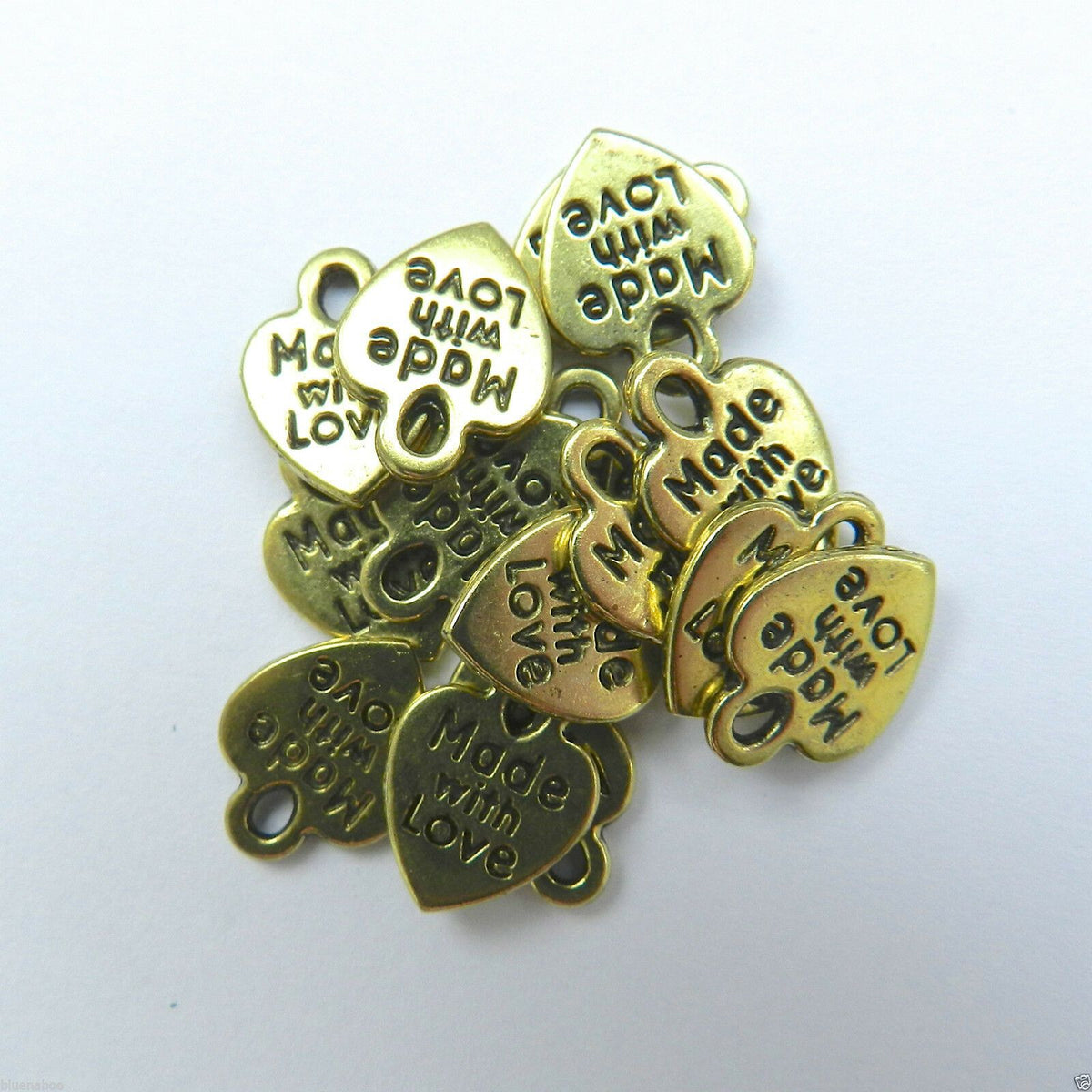 Small 'metal charms'   made with love gold/silver colour, pack of 10 ~
