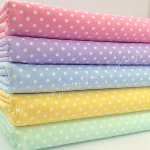 5 piece FAT QUARTER BUNDLE, polka dot basics,  pastels, pink lilac... 100 % cotton fabric*