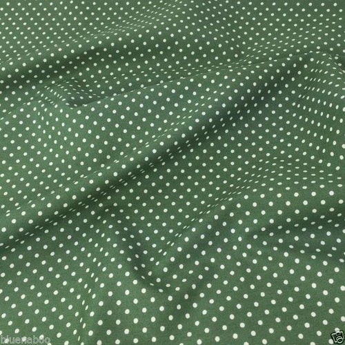 Old Green, Polka Dot, 100% cotton fabric, sold per half metre 112 cm wide
