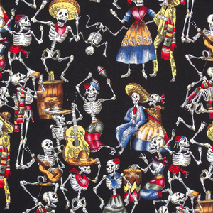 Day of the Dead, 'Dancing Skeletons' 100% Cotton Fabric, by the half metre ~