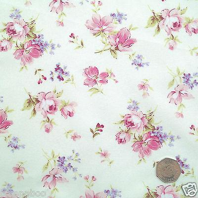 Floral Pink, Lilac & Cream, 100% Cotton Fabric sold per half metre 112cm wide ~