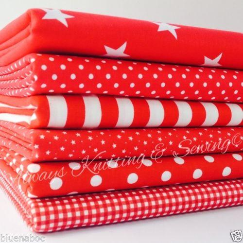 6piece FAT QUARTER BUNDLE, RED basics, spots, stripes, plains, 100% cotton fabric *