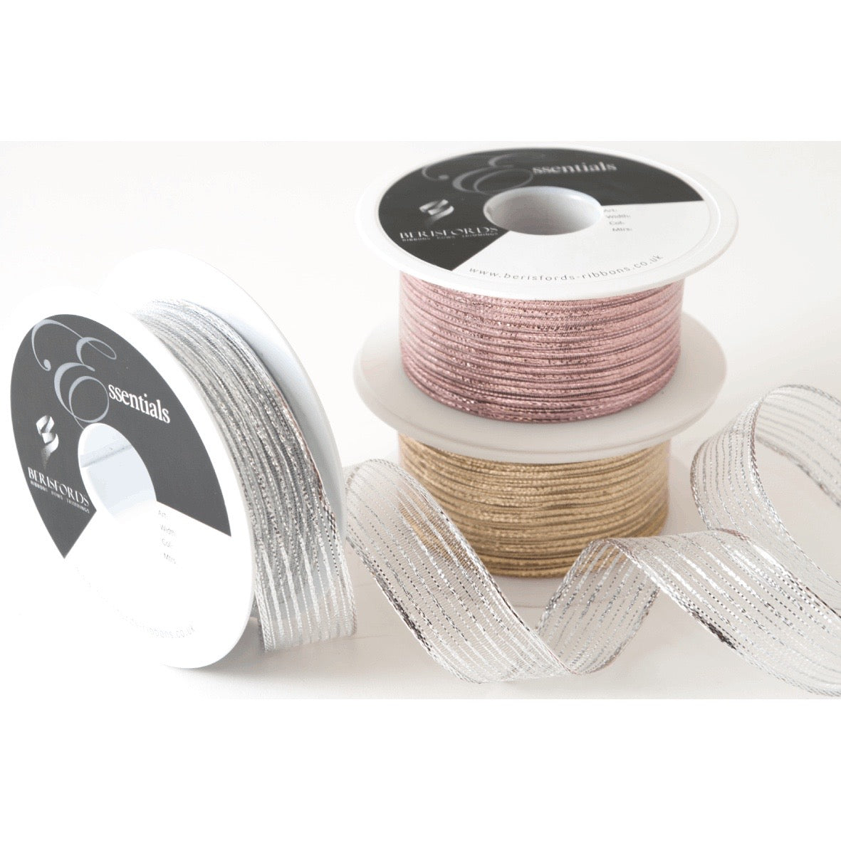 Berisfords Tinsel Mesh Ribbon, Gold, Rose Gold or Silver, 2 widths available.  Sold per metre