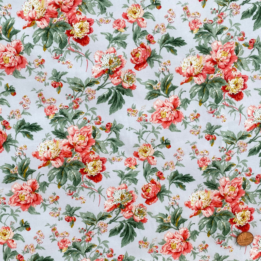 Peony Silver grey floral 100% cotton fabric, 112cm wide sold per 1/2 metre