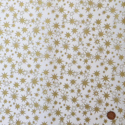 Scattered Stars, ivory & gold Christmas fabric, 56
