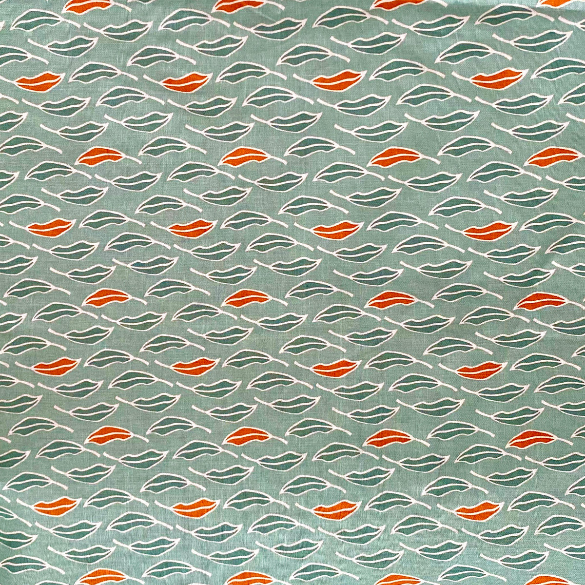 Botanical Leaves green & orange 100% cotton fabric, sold per 1/2 metre, 112cm wide