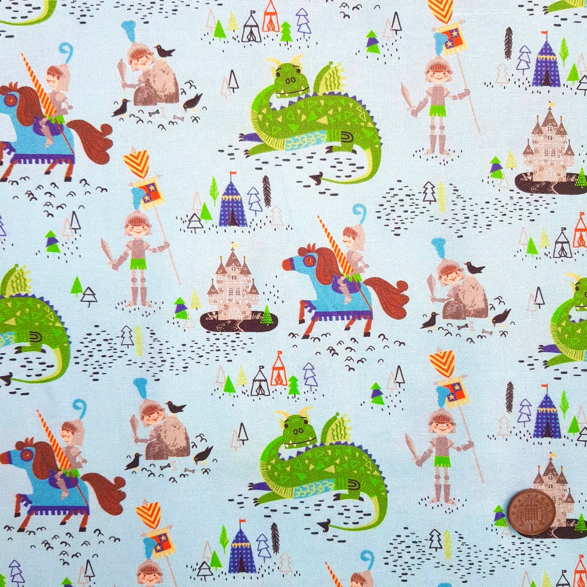 Once Upon a Time blue  100% premium cotton fabric, sold per half metre, 112cm wide