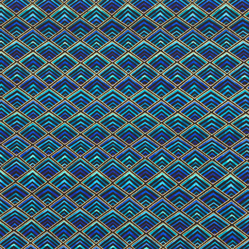 Plume blue & gold 100% Premium Cotton by Timeless Treasures Per 1/2 Metre