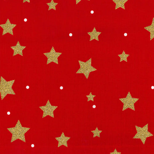Red with large gold glitter stars Christmas Fabric 100 % Cotton sold per half metre 110cm wide