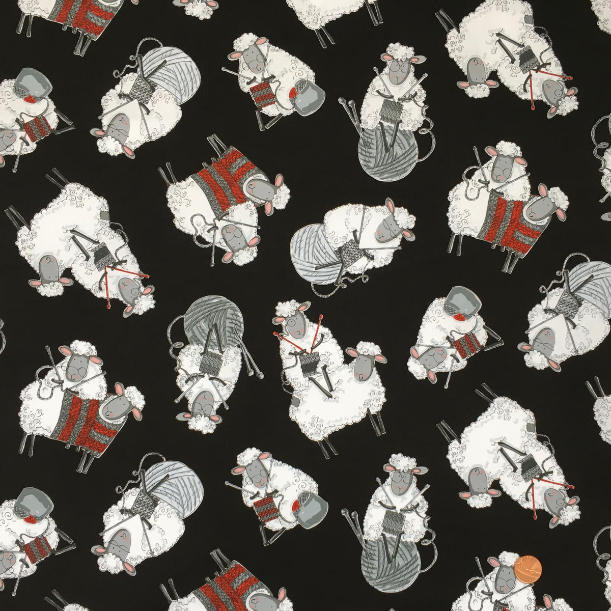Knitting Sheep black 100% Premium Cotton by Timeless Treasures Per 1/2 Metre