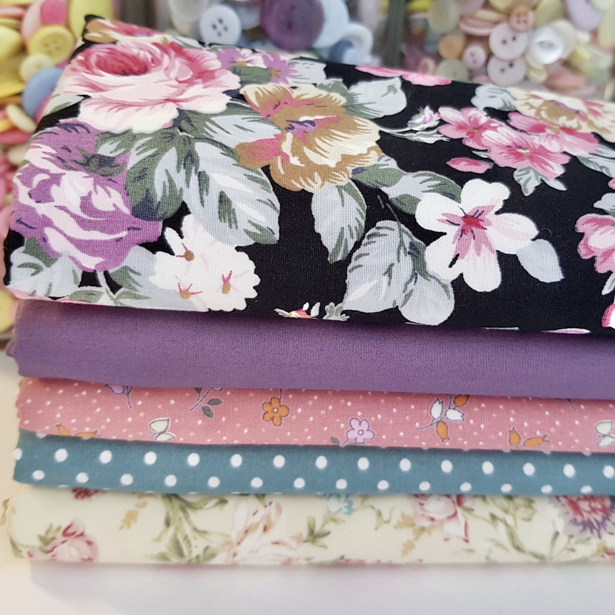 Rose Vintage Floral 5 Piece Fat Quarter Bundle, 100% Cotton Poplin