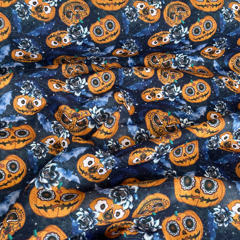 Halloween Pumpkins, blue 100% cotton fabric, sold per half metre