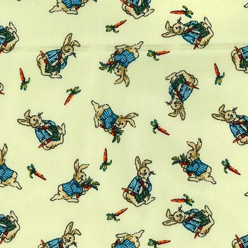 Meadow green Cute Rabbit 100% cotton fabric sold per 1/2 metre, 112cm wide