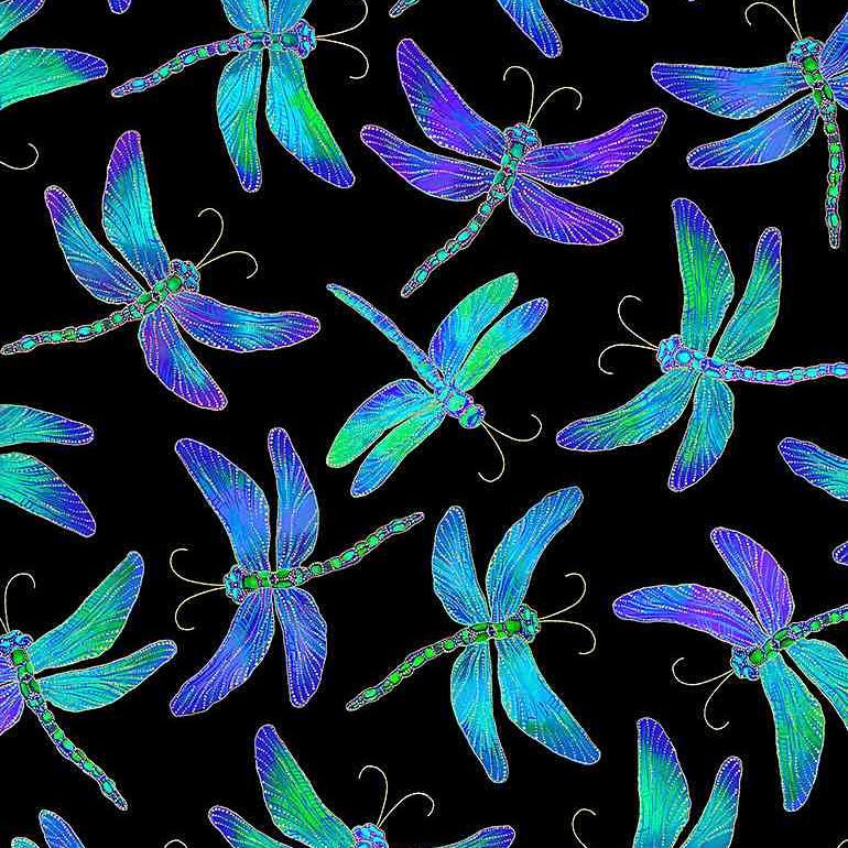 Timeless Treasure black irridescent dragonflies cotton fabric