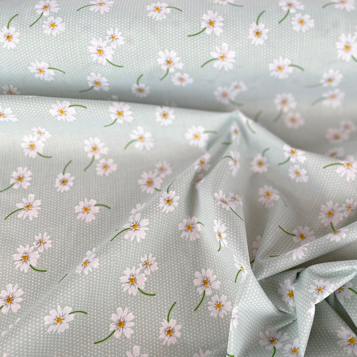 Dotty Daisy pale mint, Polycotton fabric, sold per half metre, 112cm wide