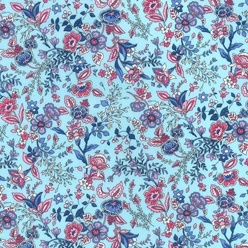 Pale blue Pretty floral  bloom 100% cotton poplin fabric, sold per 1/2 metre, 112cm wide