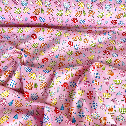 Pink Mini Umbrella Fabric 100% Cotton poplin, 112cm wide sold  Per 1/2 metre