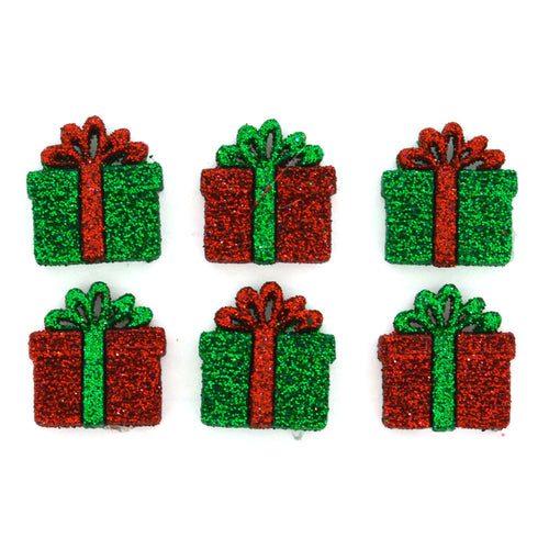 Small glitter presents, Christmas dress it up buttons,
