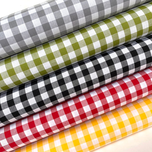 Yarn dyed Gingham fabric, 100% cotton, 1/4 inch checks, 5 colours,  per 1/2 metre
