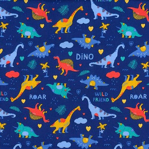 Dinosaur Land Royal blue 100% cotton poplin fabric, sold per 1/2 metre