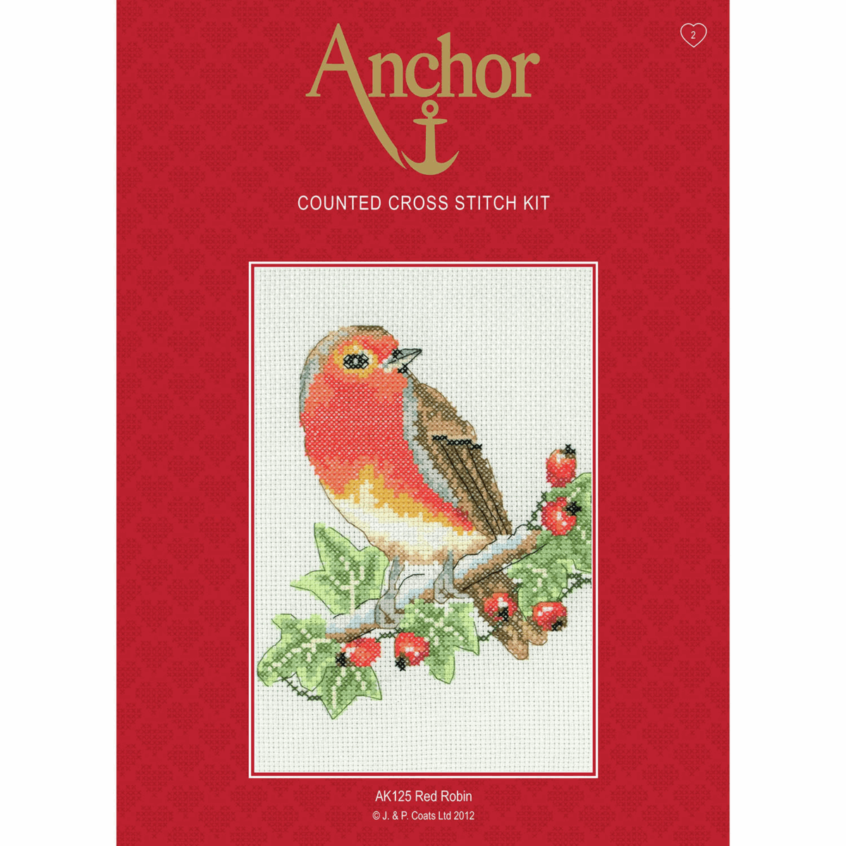 Red Robin Anchor Cross Stitch Kit suitable for beginners