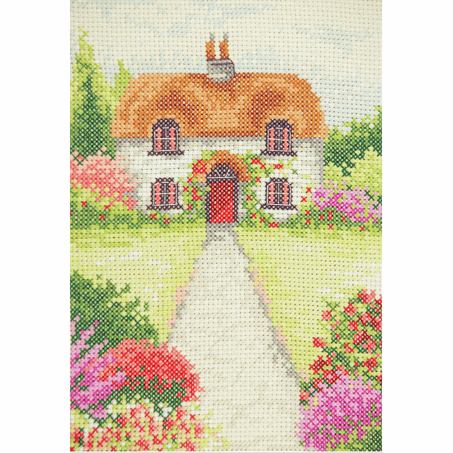Anchor Cottage Garden Cross Stitch Kit Finished size: 23 x 16cm