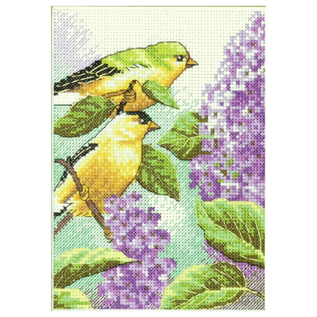 Goldfinch and Lilacs, Mini Counted Cross Stitch