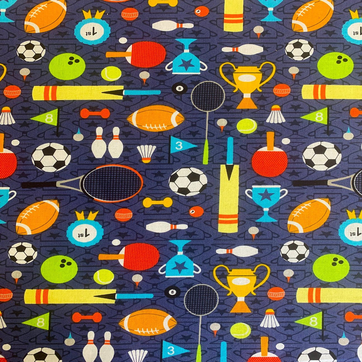 Navy blue Sports day  fabric per 1/2 metre, 112cm wide, 100% cotton