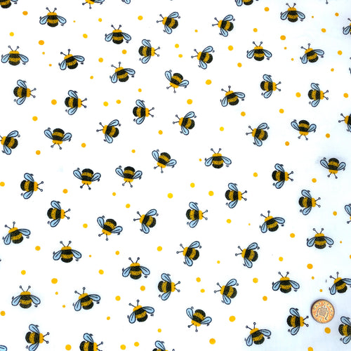 Bees White & yellow colour Poly cotton fabric, sold per 1/2 metre, 112cm wide