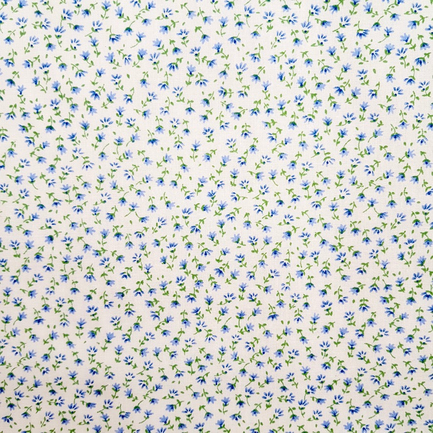 Pretty blue & cream Floral Polycotton Fabric sold Per 1/2 Metre 112cm Wide