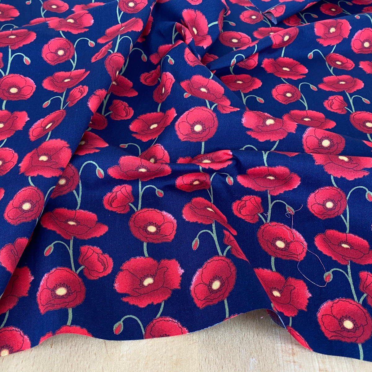 Centenary Poppies,  navy blue 100% Cotton Fabric, sold per Half Metre, 112cm wide