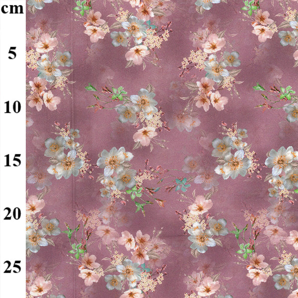 "Mauve Hibiscus floral 100% cotton lawn  fabric sold per half metre 57"" wide"