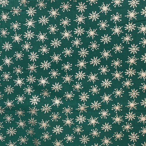 Green & gold Christmas snowflake Fabric 100 % Cotton sold per half metre 110cm wide