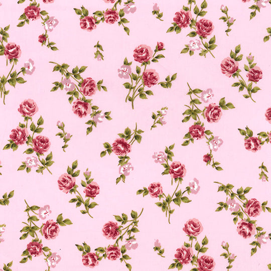 Pink Rose Bud floral 100% Cotton Poplin Fabric sold per half metre by Rose & Hubble