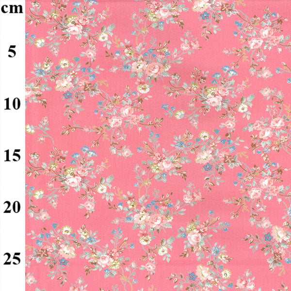 Pink Floral Apple Blossom Cotton Poplin Fabric, sold per 1/2 metre, 112cm wide