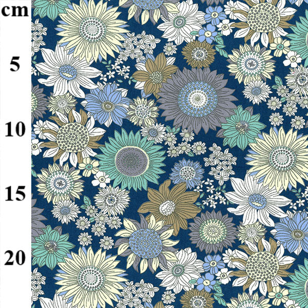 Copen blue Oklahoma retro look floral 100% cotton poplin fabric sold per half metre, Rose & Hubble