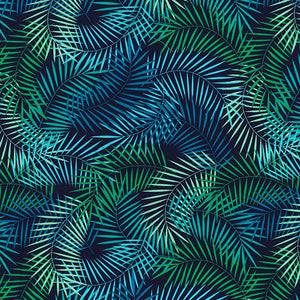 Navy Blue & green colour fern design 100% cotton poplin fabric sold per half metre, Rose & Hubble