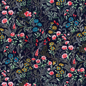 Forest flowers Navy blue, 100% cotton poplin fabric, sold per 1/2 metre, 112cm wide