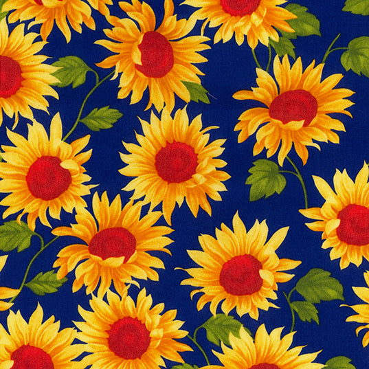 Sunflower yellow & Royal  blue 100% cotton poplin fabric, sold per 1/2 metre, 112cm wide