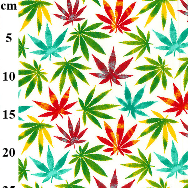 Multicoloured herbal Cannabis design 100% cotton poplin fabric, sold per 1/2 metre, 112cm wide