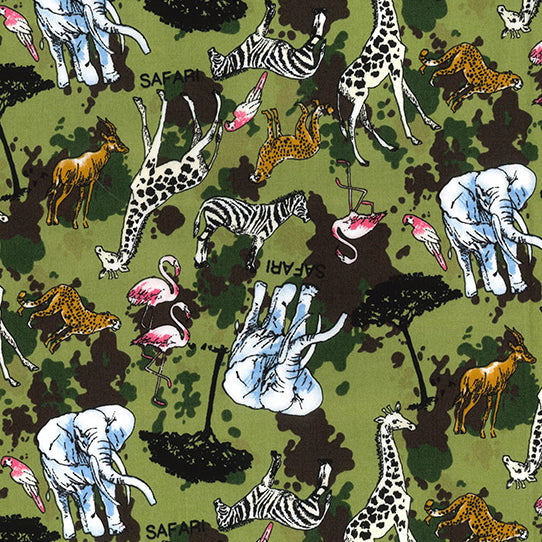 Green Safari design 100% cotton poplin fabric, sold per 1/2 metre, 112cm wide