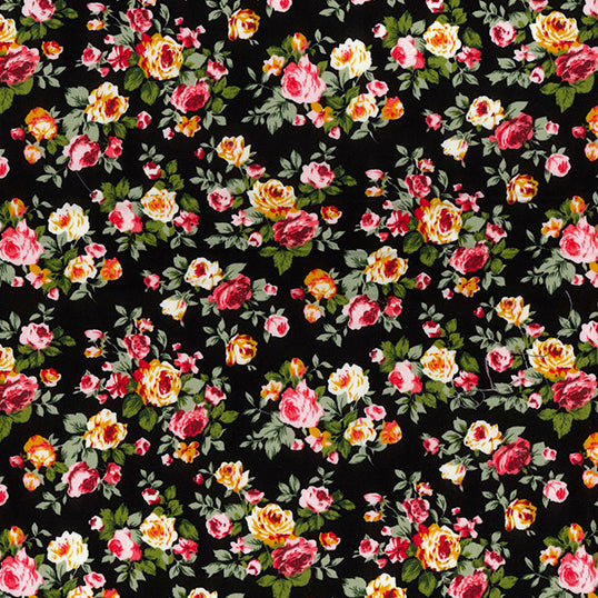 Blooming roses black  floral 100% cotton poplin fabric, sold per 1/2 metre