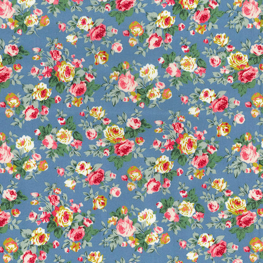 Blooming roses copen blue floral 100% cotton poplin fabric, sold per 1/2 metre
