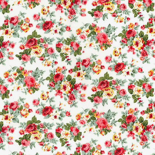 Blooming roses ivory floral 100% cotton poplin fabric, sold per 1/2 metre