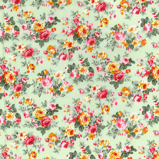 Blooming roses meadow green floral 100% cotton poplin fabric, sold per 1/2 metre