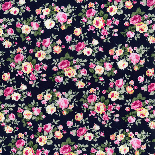 Blooming roses navy blue floral 100% cotton poplin fabric, sold per 1/2 metre
