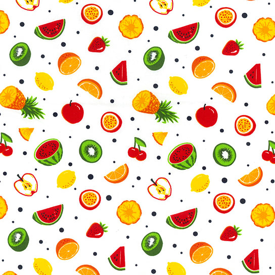 Fruity fun White 100% cotton fabric, 100% cotton, per 1/2 metre