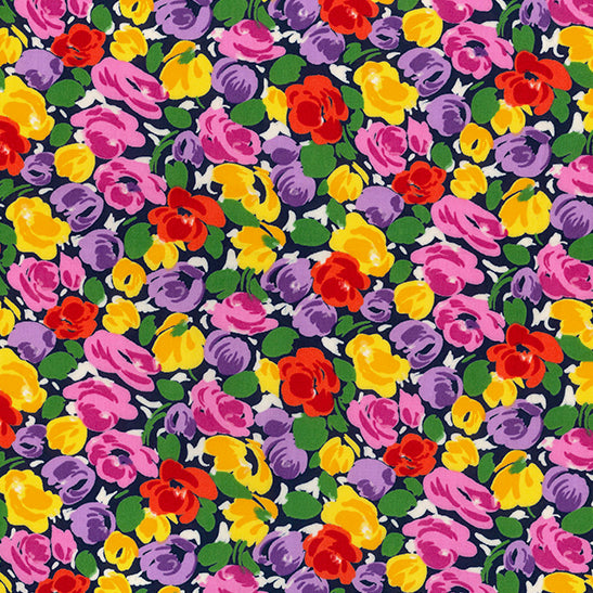 Lovely flowers navy 100% Cotton poplin Fabric, sold per Half Metre, 112cm wide