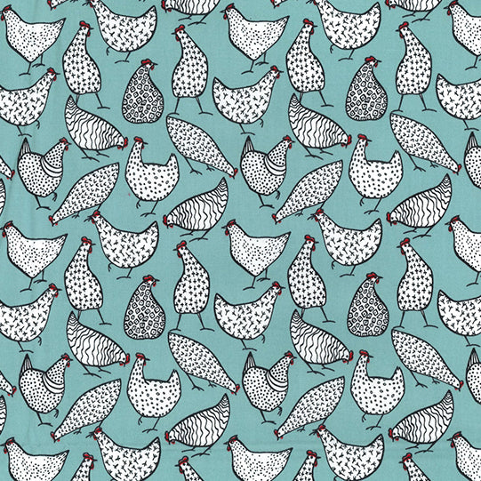 Duck egg blue Clucking Chicken design 100% cotton poplin fabric, sold per 1/2 metre, 112cm wide
